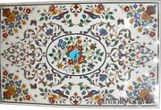 30 Inches Marble Coffee Table Top Semi Precious Gemstones Inlaid Island Table