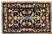36 Inches Black Marble Coffee Table Top Multi Color Gemstone Inlaid Center Table