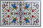 36 Inches Marble Coffee Table Top Multi Color Stones Inlaid Patio Table For Lawn
