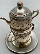 Vintage Miniature Dollhouse Sterling Silver Water Kettle Warmer Italy Made