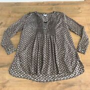 East With Fabindia Womens Floral Print Brown Cotton Tunic Shirt Top Size Uk 14