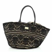 Dolce And Gabbana Kendra Basket Bag Woven Straw And Floral Lace