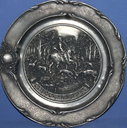 Vintage German Hunting Pewter Wall Decor Plate