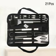 21pcs Grilling Utensil Spatula Barbecue Fork Tongs Knife Stainless Steel Bbq Set
