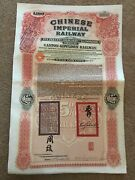 Chinese Government 1907 Canton Kowloon Railway £100 Gold Bond Coa Authenticity