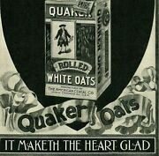 1897 Quaker Oats Cereal Puritan Man Tin Can Makes The Heart Glad Print Ad 4992