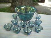 Indiana Glass Grape And Leaf Iridescent Blue Carnival Glass Punch Bowl