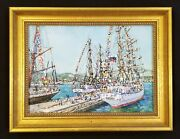 Antique Ship Painting Ship In Port Original Oil Painting Colorful Flags Seascape