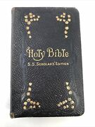 Antique Oxford Pearl Kjv Holy Bible Ss Scholars Edition Decor Leather Hc Compact