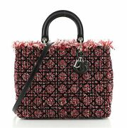 Christian Dior Lady Dior Bag Cannage Quilt Tweed With Leather Large