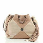 Patchwork Drawstring Bag Quilted Leather And Suede Small