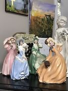 Lot Of 4 Hand Painted 1970s Ceramic Victorian Lady Figurines 7 In Tall Signed
