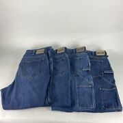 Lot Of 4 Duluth Trading Co Carpenter Blue Work Jeans Mens Size 36 X 30