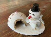 Vintage Red Nosed Snowman And Igloo Christmas Collectable Stamped Japan Figure