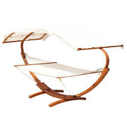 2 Person Patio Hammock Wooden Roman Arc Outdoor Lounger With Canopy Stand