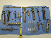 Vintage Medical Surgical Veterinarian Mixed Tool Lot Syringes Needles Antique