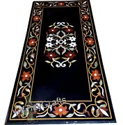 30 Inch Marble Coffee Table Top Multi Color Gemstones Inlaid Sofa Table For Home