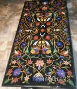 30 Inches Black Marble Coffee Table Top Multi Color Gemstone Inlaid Island Table