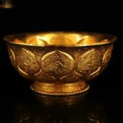 5and039and039 China Dynasty Bronze Gilt Phoenix Bird Flower Tea Cup Bowl Bowls Wine Glass