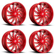 Set 4 20 Fuel D745 Saber 20x10 Candy Red Milled 8x180 Truck Wheels -18mm Rims