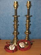 Pair Brass Victorian Candlestick Table Lamp 40cm Tall Professionally Upcycled
