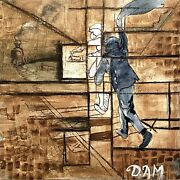 David A Mathews Mixed Media Abstract Train Station Study Painting Expressionist