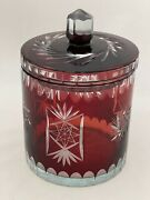 Bohemian Style Czech Ruby Red Cut To Clear Glass Canister Jar With Lid