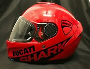 Shark Spartan Red 2021+ With Ducati Stickers Motorcycle Helmet Double Spoiler