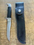 Vintage Buck 105 Fixed Blade Knife And Leather Sheath