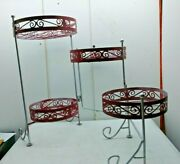Patio 4 Tier Foldable Wrought Iron Plant Pot Stand Garden Home Decor Silver Red