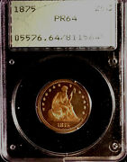 1875 Seated Liberty Proof Quarter 25c Pcgs Pr64 In Old Rattler Coin H0lder 0gh