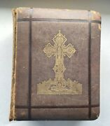 Large Antique Late 1800's Latin Vulgate Rheims And Douay Bible