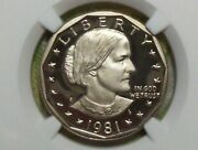 Key Date 1981-s Type 2 Proof Susan B. Anthony Dollar-ngc Pf 69 Ultra Cameo 2