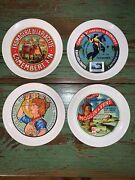 Vintage French Camembert Fabrique En Normandie Ceramic Cheese Plates Set Of 4