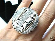Autographed John Hardy Huge Diamond White Sapphire Ring Hand Signed By Jh