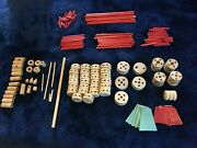 Lot Of 100+ Parts Wooden Tinker Toys