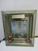 Vintage Jesus Cross Wall Hanging Light Up Framed Print Picture Religious Works