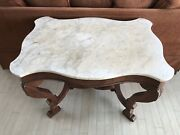 Antique Victorian Marble Turtle Top Carved Wood Parlor Table