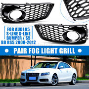 Honeycomb Hex Front Bumper Fog Light Lamp Grill Grille For Audi A5 S-line S5 B8