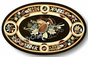 30 Inches Marble Coffee Table Top Floral Pattern Inlaid Royal Look Island Table