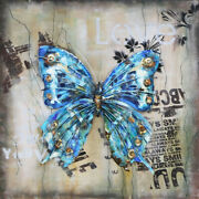 3d Wallmount Texture Butterflies Nature Painting Old Canvas Textures Home Frame