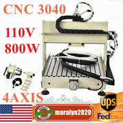 4 Axis 3040 Cnc Router Engraver Engraving Mill Machine Metal Cutter 800w Us New