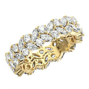 2.50ct Double Row Marquise And Round Diamond Full Eternity Ring In 18k Yellow Gold