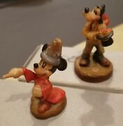 Anri Disney Wood Carved Mickey Mouse Sorcerers Apprentice And Goofy Birds In Hat
