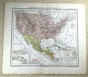 1882 Antique Map Of The United Sates Of America Usa Mexico Us Old German 19th C
