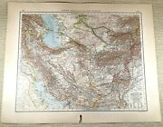 1906 Antique Map Of Persia Afghanistan Middle East Old Large German Lithograph