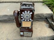 Vintage 3 Slot Rotary Pay Phone Telephone Western Electric Rare Brown Color