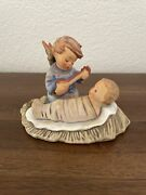 Antique Hummel Lullaby Angel With Baby Jesus Candleholder C1950