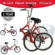 20 Adult Tricycle 7speed 3 Wheel Pedal Folding Trike Bike W/basket For Shopping
