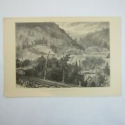 Antique 1874 Engraving Print Kittanning Point, Horse-shoe Bend John A. Hows
